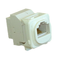 Keystone Cat5e through adaptor/coupler c/w clip to suit Clipsal style plate