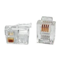 RJ12 6P4C Modular Plug Round Solid / Stranded (Pack of 100)