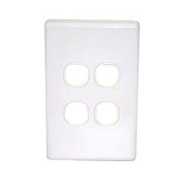 Four port wall plate white, accepts Clipsal (C2000 series style)