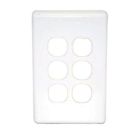 Six Port Slim Wall Plate White, accepts Clipsal (C2000 series stlye)
