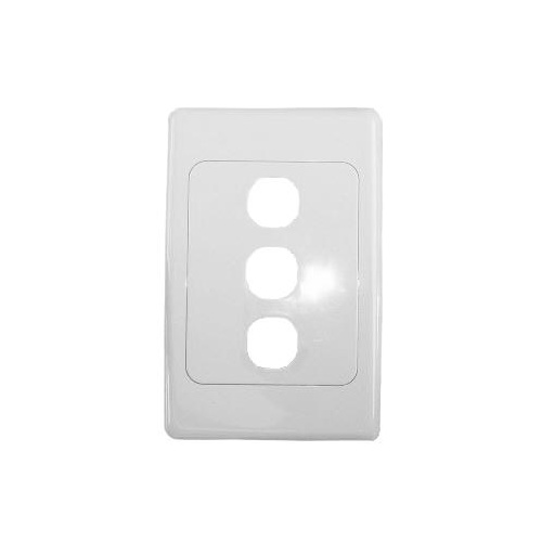 Three port wall plate white, accepts Clipsal (2000 series style)