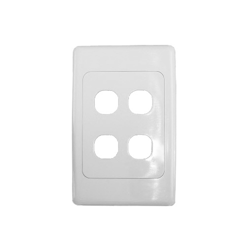 Four port wall plate white, accepts Clipsal (2000 series style)