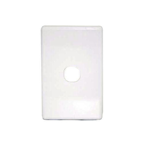 Single port wall plate white, accepts Clipsal (C2000 series stlye)