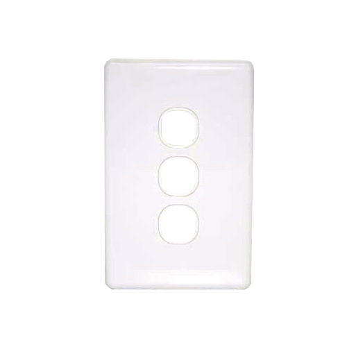 Three port wall plate white, accepts Clipsal (C2000 series style)